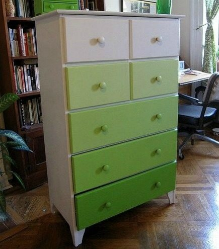 green gradient painted dresser from Lexi Flickr