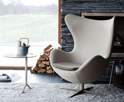 Arne Jacobsen's 1957 Egg chair in beige fabric