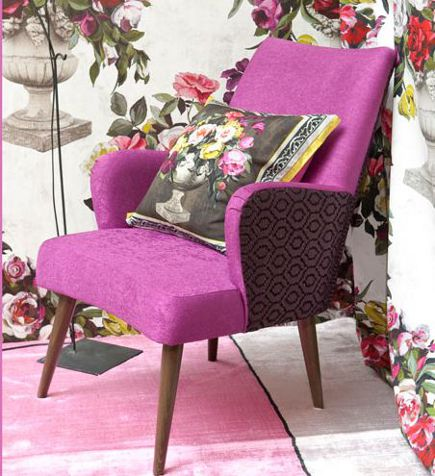 Gibson chair in fuschia and brown from Designer's Guild