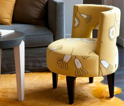 Yellow Tomo side chair by Philippe Hurel