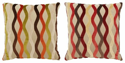 decorative linen pillows with velvet wave design from Pillows by Dezign