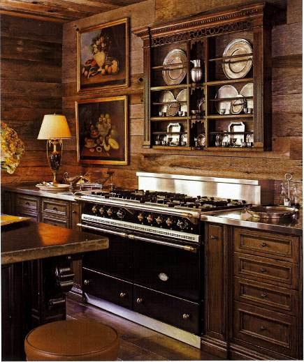 black Lacanche Sully range in a rustic kitchen