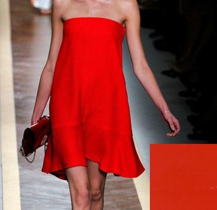 paint color fashion - Valentino red dress and Valspar Scarlet Sin paint - style.com via Atticmag