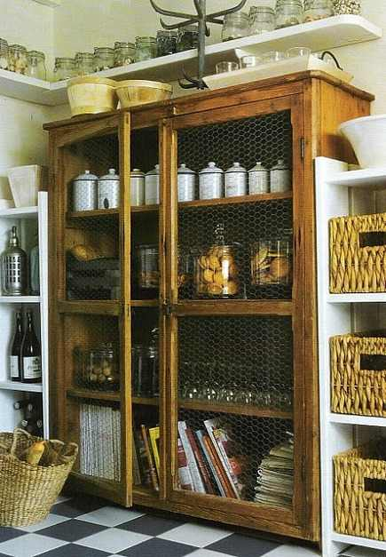 large antique cabinet with chicken wire doors from Kyandra blog