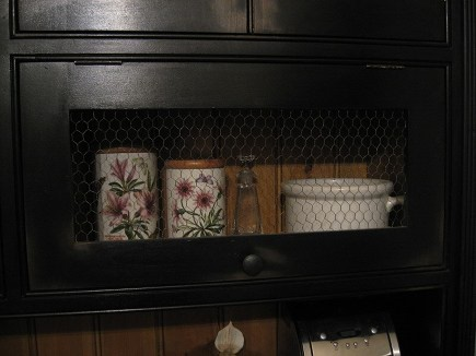 top hinged hutch door with chicken wire insert