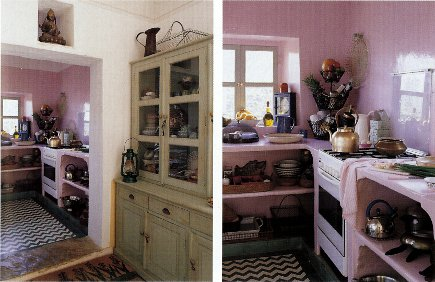 Anglo-Indian style - bright pink kitchen with a green and white pattern tile floor in an Indian house - WOI via Atticmag