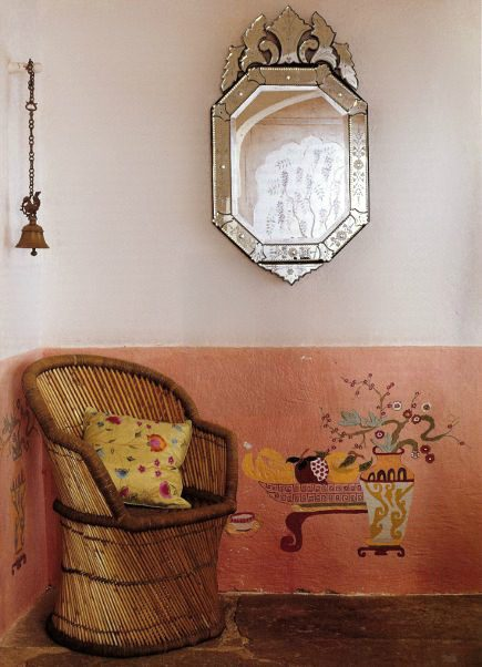 Anglo-Indian style - corner of an Indian dining room with wall stencils -WOI via Atticmag