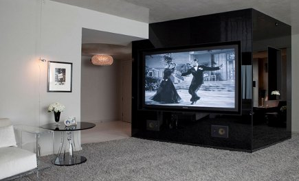 Modern Media Walls - Black wall behind tv