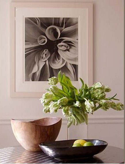 table vignette by Brad Ford with tulips, bowls and citrus