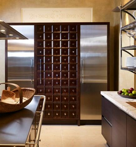 built in fridge - Mick de Giulio Kitchen Design apothecary style refrigerator cabinet - Decorati via Atticmag