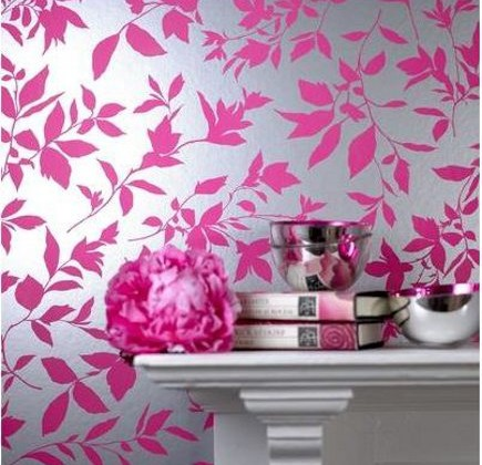 Graham & Brown Midsummer wallpaper in the fuchsia colorway via Atticmag