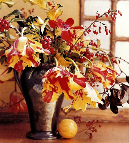 parrot tulips and barberry branches in a silver pitcher