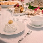 Royal Copenhagen Christmas table 2011 with Christmas pastries on White Fluted Half Lace china and Flora Danica via Atticmag
