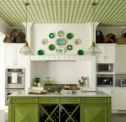 green kitchens - pea-green gingham ceiling kitchen by Mendelson Group via Atticmag