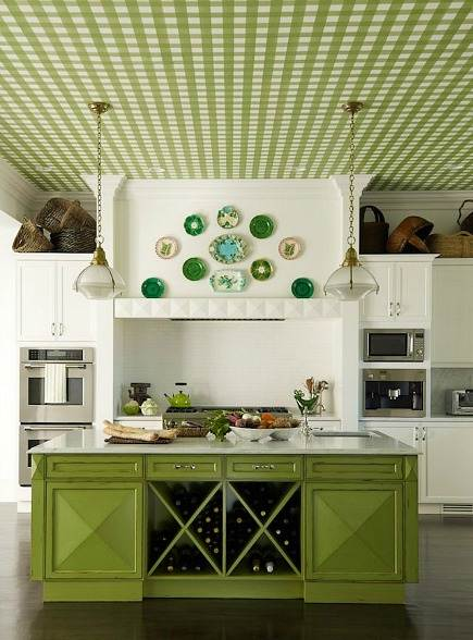 pea-green gingham ceiling kitchen by Mendelson Group