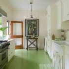 Green Painted Floor Kitchen