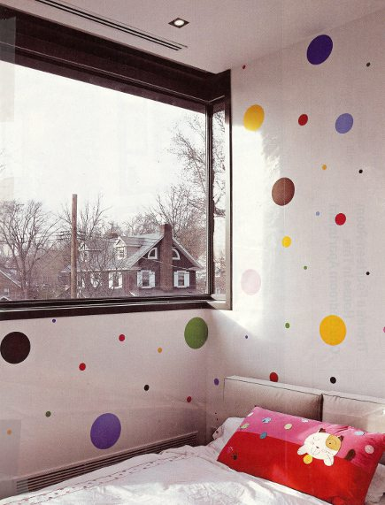kid's room ideas - wallpaper with colorful dots of various sizes - Lonnymag via Atticmag
