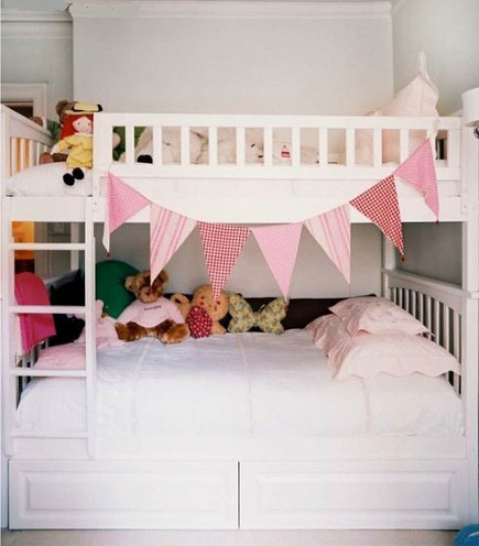 kid's room ideas - white-painted bunk bed with ladder and railing - Lonnymag via Atticmag