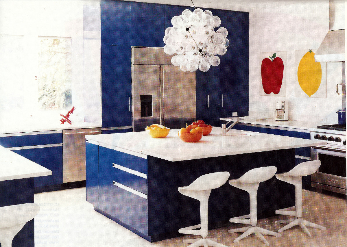 will blue and white fans love the deep hue of these blue kitchen cabinets and this modern take - Blue Kitchen Cabinets