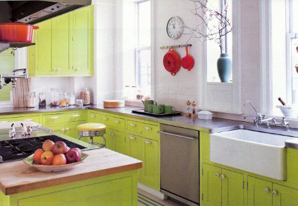 lime kitchen cabinets - Actor Anthony Edwards' transitional kitchen with cabinets painted Bright Lime by Benjamin Moore plus white and gray accents - Elle Decor via Atticmag