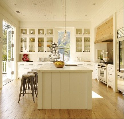 modern white farmhouse kitchen with Calacatta marble by Ken Linsteadt Architects