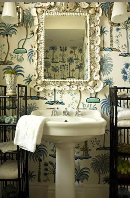 palm tree pattern powder room wallpaper
