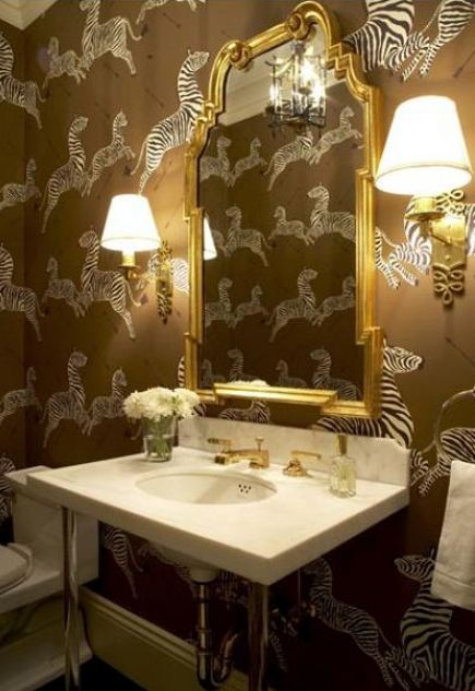 powder room with brown-background Scalamandre zebra wallpaper