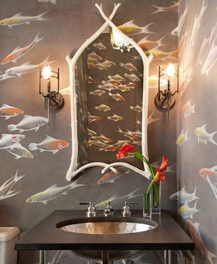 powder room with fish motif wallpaper
