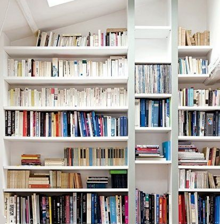 bookcase ideas - bookcase built into a wall niche - via Atticmag