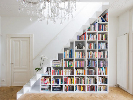 book case built under a staircase