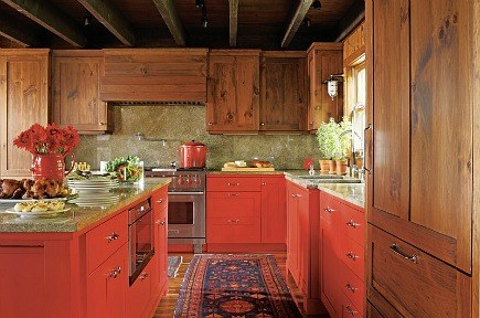 bold red Shaker style cabinet mountain kitchen by John Oetgen and Sally Ann Sullivan