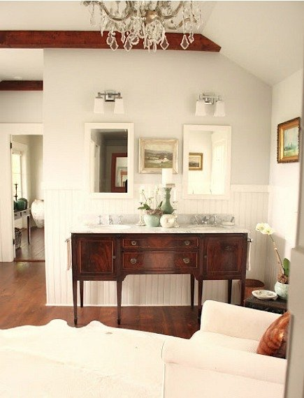 mahogany sideboard made into a double sink master bath vanity For the Love of a House blog