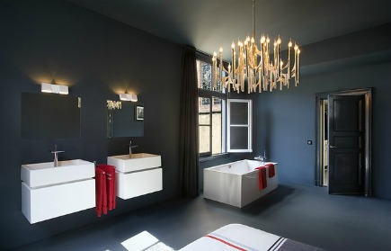 a converted church features a bathroom bedroom combined in a master suite similar to a hotel - Modern Master Suite Bathroom