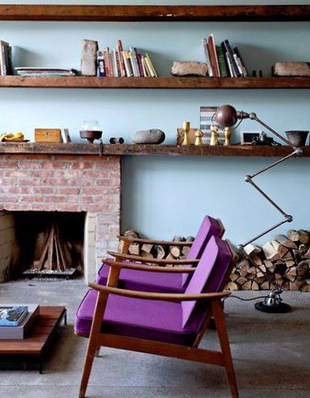purple chairs - mid-20th century walnut frame armchairs with purple-upholstered seat and back cushions - Antonia Hutt via Atticmag