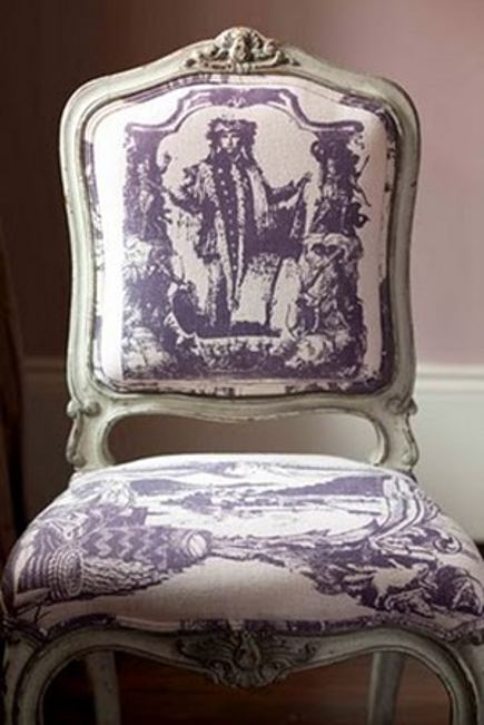white-painted French style side chair upholstered in contemporary purple on white toile