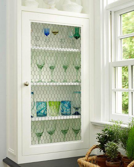 chicken wire mesh - glassware display kitchen cabinet with wire-mesh door - BH&G via Atticmag