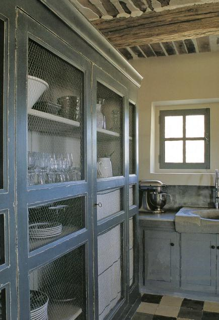 vintage French farmhouse kitchen armoire with wire-mesh doors
