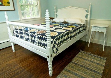 custom made - Bailey Island solid maple spool bed - Phi Home Designs via Atticmag