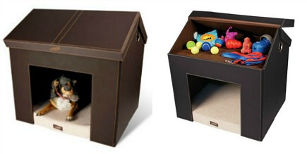 dog beds - dark brown faux leather dog house den by Pet Haven via Atticmag