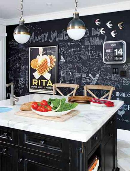 black and white kitchen with full blackboard painted wall