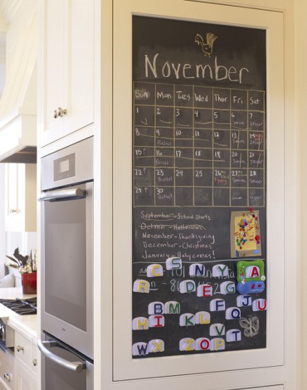 chalkboard paint kitchen walls - black chalkboard paint and magnetic bulletin board - Gast Architects via Atticmag