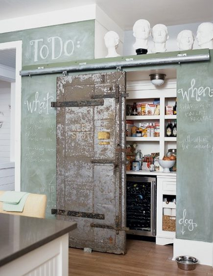 chalkboard paint kitchen walls- sea green chalkboard wall in a kitchen with a barn door - Decorpad via Atticmag