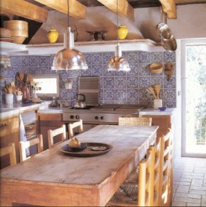 blue and white patterned tile backsplash