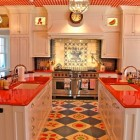 Red Gingham Ceiling Kitchen