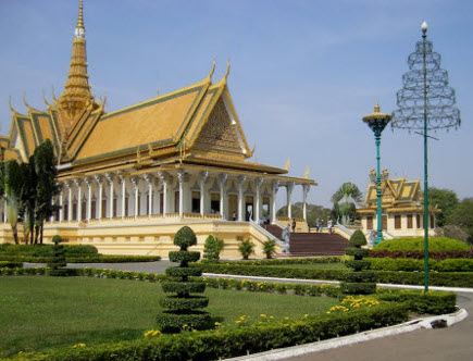 vintage yellow kitchen - Royal Palace, Phnom Penh in yellow with green trim - global travelmate via Atticmag