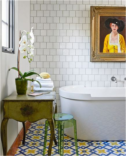 traditional bath with white square field tile, darkly grouted