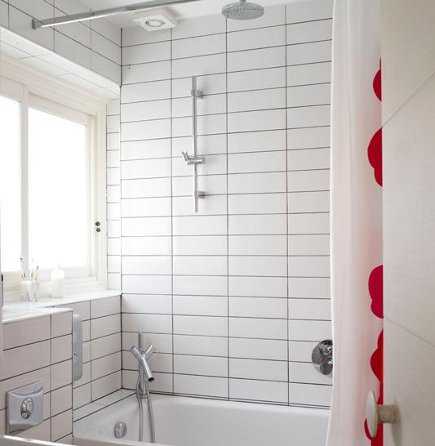 dark grout white tile - stacked rectangular white tiles with light gray grout - House to Home via Atticmag