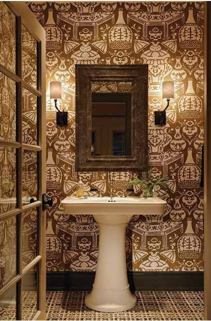 powder room with brown and white Asian motif wallpaper
