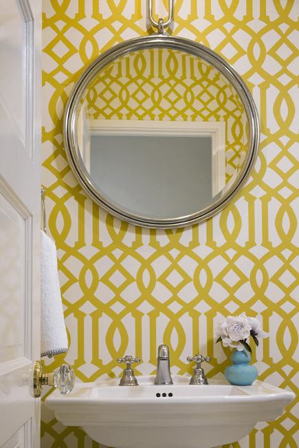 Powder room with Kelly Wearstler Imperial Trellis wallpaper by Schumacher