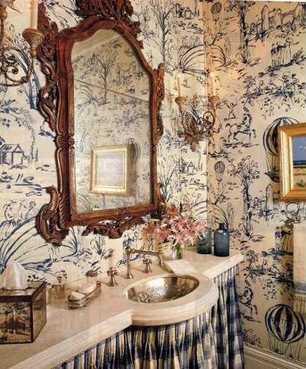 powder room with blue and white toile wallpaper